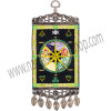 """Our beautiful mini-carpet wall charm features the captivating image of a Pagan Wheel. Both ends of the carpet have been finished with an intricate antiqued metal frame. The bottom frame also features matching antique metal teardrop tassels. This is a Kheops exclusive design. SYMBOL Pagan Wheel - See more at: http://www.kheopsinternational.com/p/Wall-Hanging-Carpet-Pagan-Wheel/63375.html#sthash.988ALPnP.dpuf"