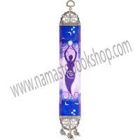 This mini hanging carpet reflects the nurturing ways of feminine energy. It features a purple Goddess holding the earth above her head cast against shade of purple blue and white. Both ends of the carpet have been finished with a lovely antiqued metal frame. The top frame has a hanging loop and the bottom frame features matching leaf tassels. Exclusive Design DIRECTIONS Turkey - See more at: http://www.kheopsinternational.com/p/Door-Hanging-Woven-Narrow-Carpet-Goddess/63383.html#sthash.xCtTmth6.dpuf