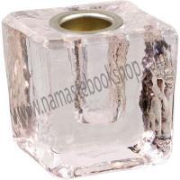 Mini Glass Candle Holder Cube Clear