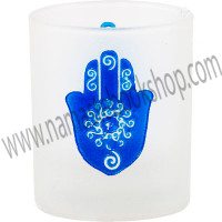 Etched Glass Votive Holder Fatima Hand