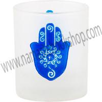 Etched Glass Votive Holder Fatima Hand