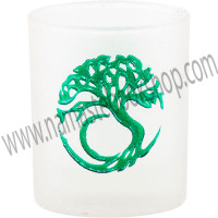 Etched Glass Votive Holder Tree of Life
