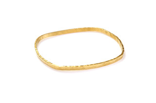 Hammered Medium Square Bangle Gold