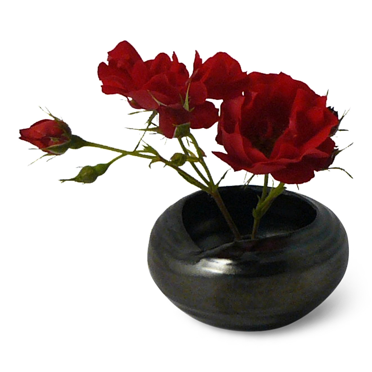 Black Luster Vase with flowers