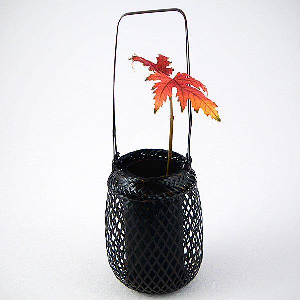 Bamboo Overhandle Basket with leaf