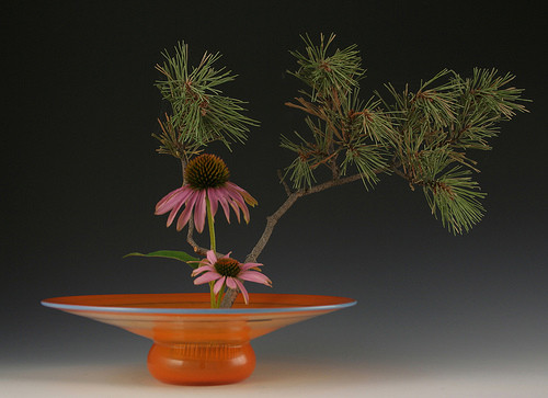 Tangerine Enso Vase with arrangement
