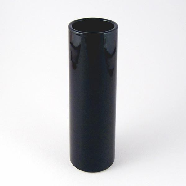 Black nageire cylinder vase close-up