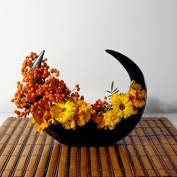 Crescent Vase with arrangement
