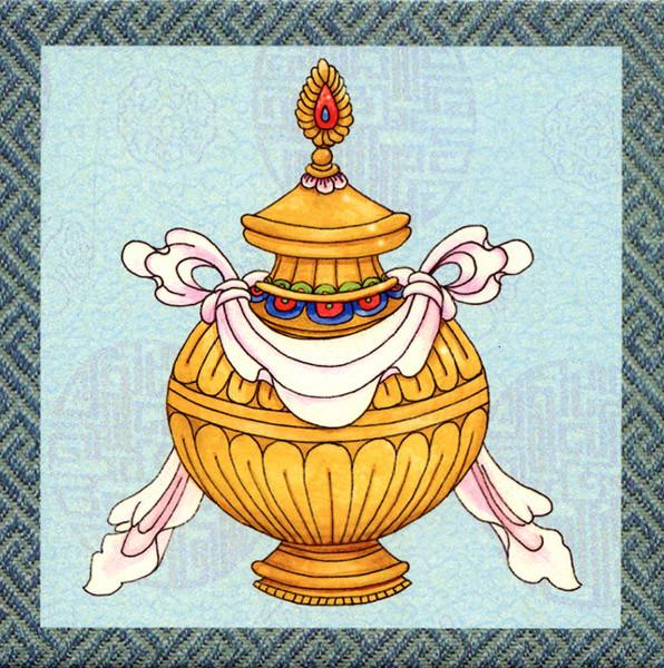 Treasure Vase Ceramic Auspicious Symbols Tile | Ziji