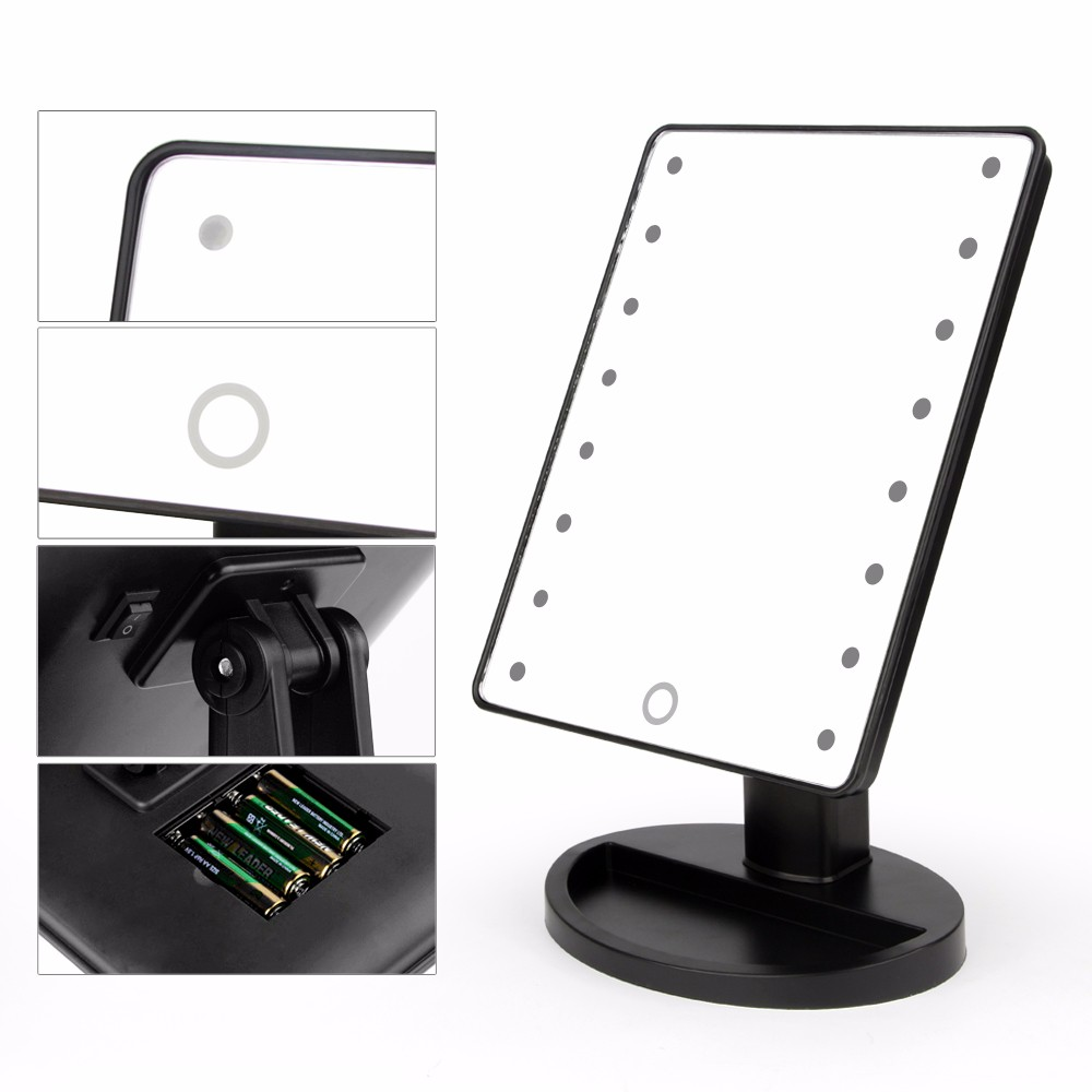 Makeup Mirrors Vanity Illuminated Stand Comestic Mirror Lighted 16 LED Lights - J&Y