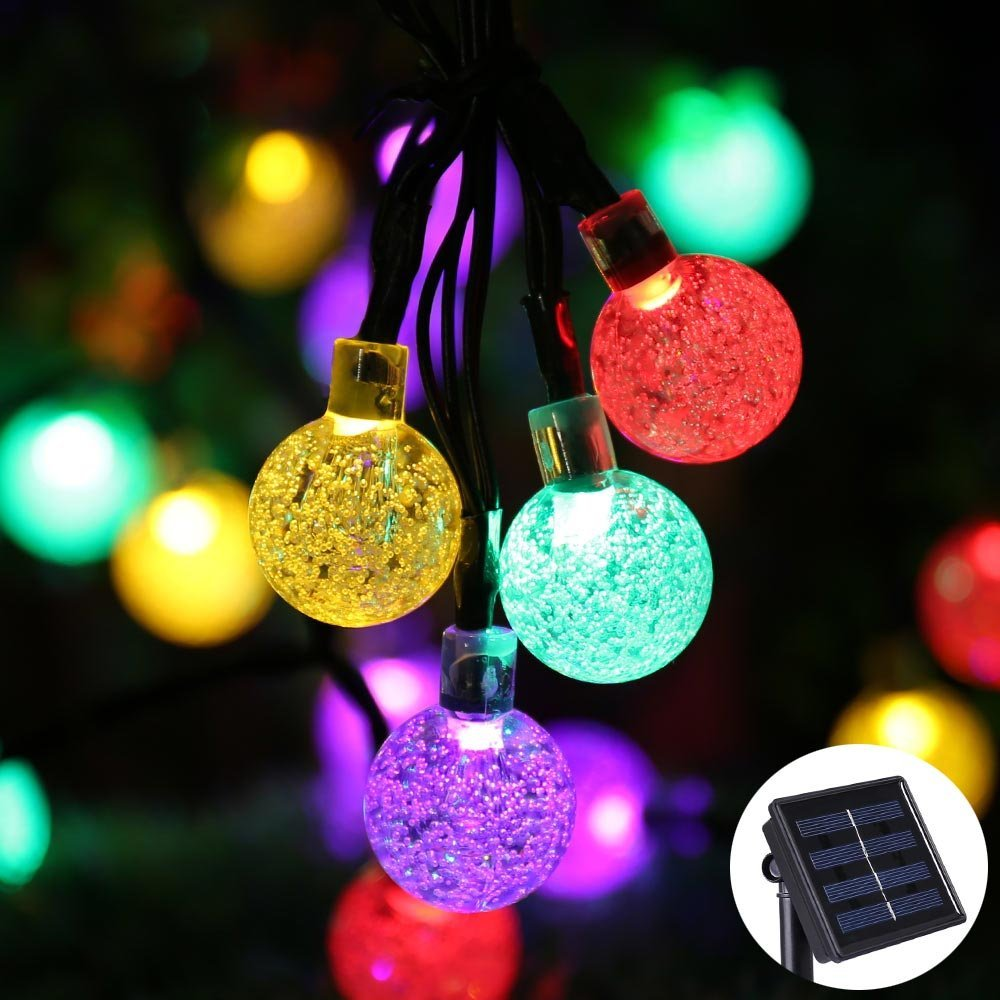 Led crystal ball solar string lights j y we ship to uk for Lumiere de noel exterieur