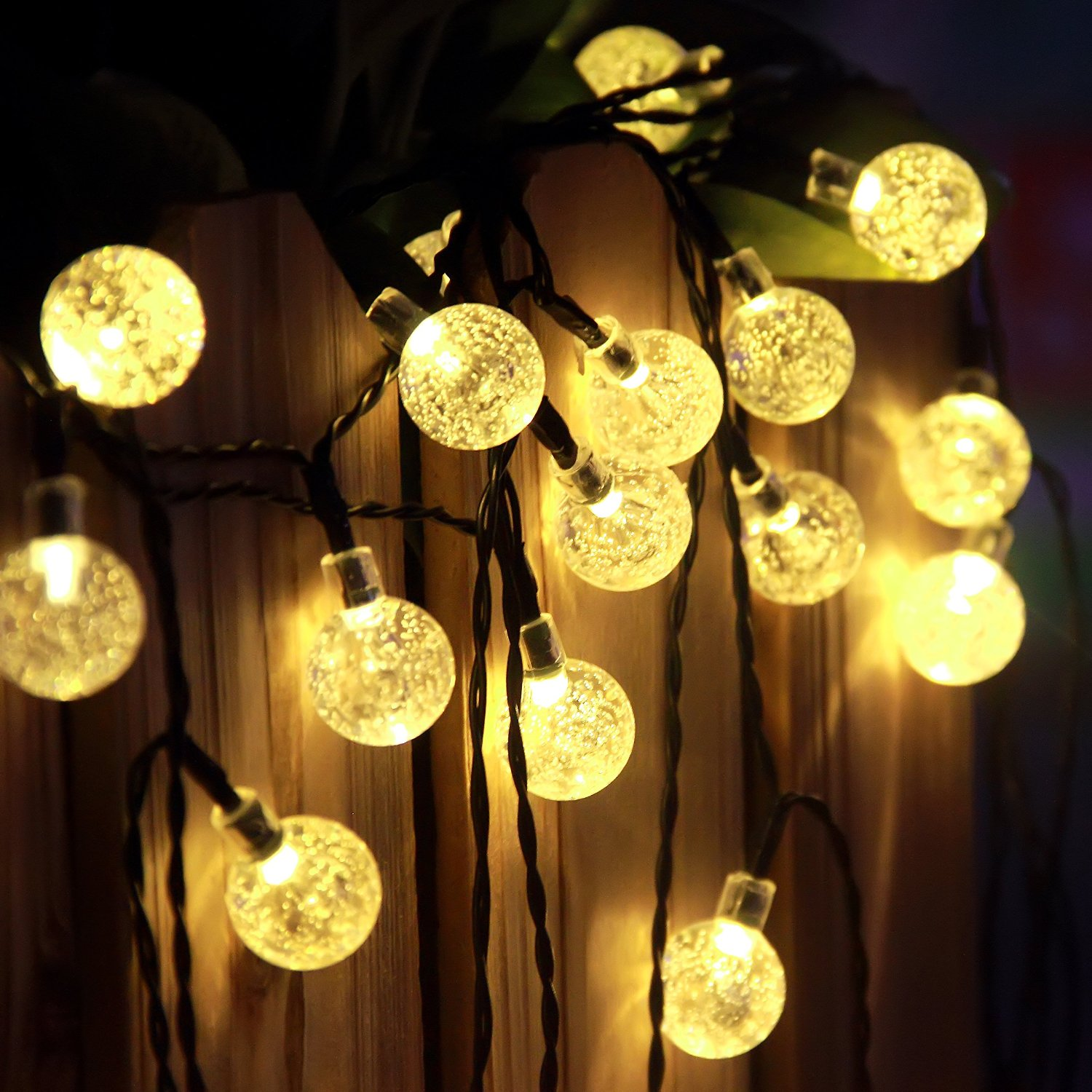 String Lights Solar : LED Crystal Ball Solar String Lights - J&Y