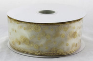 Click here to buy Gold Sparkle Polka Dot on Sheer White Wide Wired RIbbon 50 yards