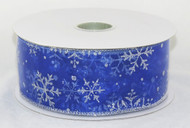 Shop now for Silver Sparkle Snowflake on sheer blue Wide Wired RIbbon