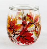 Shop now for Autumn Leaf Crackle Glass Small Tea Light Holder Yankee Candle