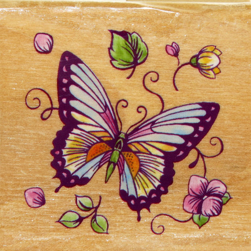Click here to buy Butterfly Wood Mounted Stamp Delta Plaid Spring Summer