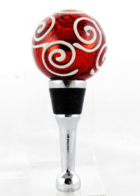 Shop now for Red Crackle Glass Swirl Ornament Bottle Stopper Topper