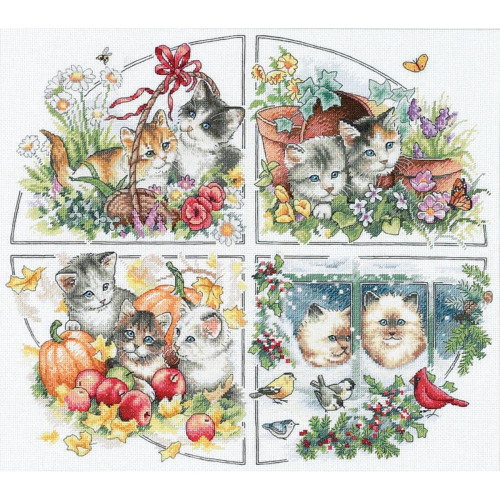 Shop now for this adorable Four Kittens Seasonal Gold Collection Dimensions Cross Stitch Kit