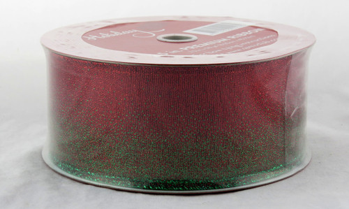 Shop here now for Sheer Green Sparkle dusted over Red Wide 2.5 inches Wired Ribbon 50 yards