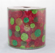 Shop now for this Super Size Sparkle Polka Dot Red Green Yellow 5 inches Wide Wired RIbbon 25 yards