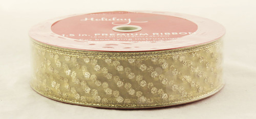 Shop now for this Beautiful Gold Sparkle Polka Dot on Champagne Sheer 1.5 inches Wide Wired Ribbon 50 yards