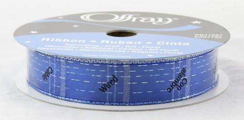 Silver Shot Dynasty Royal Blue Wired Ribbon 44 yards