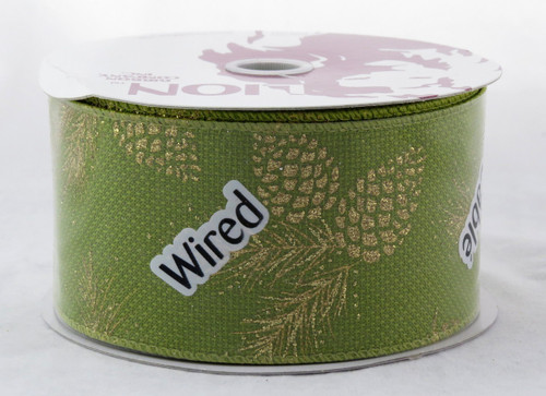 Gold Sparkle Pinecone on Green Burlap Wide Wired Ribbon 25 yards