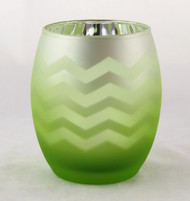 Shop now for Green Chevron Frosted Flickering Egg Votive Candle Holder