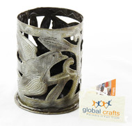 Click here to buy Haitian Steel Drum Metal Bird Artwork Candle Holder