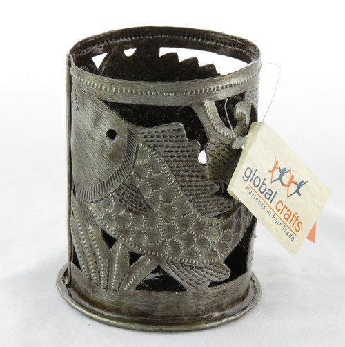 Shop now for Fish Steel Metal Drum Artwork Haitian Candle Holder