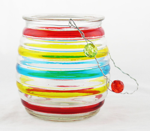 Shop now for Striped Tea Light Glass Hanging Basket Candle holder