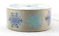 Click here to shop for Blue Turquoise Sparkle Snowflake on Taupe Satin Wide Wired Ribbon 50 yards
