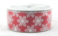 Click here to buy Silver Sparkle Snowflake on Solid Red Wide Wired Ribbon 50 yard