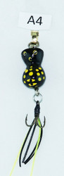 Click here to buy Round Yellow Black Triple Hook Handmade Fly Fishing Lures