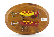 Shop here now for Handmade Fly Fishing Lures Wall Plaque Double Yellow Red Lure on Stained Oval