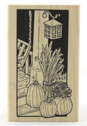 Shop here now for Inky Antics Fall Harvest Porch At Night Wood Mounted Stamp