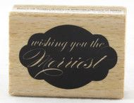 Wishing You The Merriest Wood Mounted Rubber Stamp Hot Fudge Studios