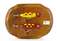 Wall Plaque Red Yellow Dotted Double Lure on Stained Oval