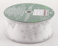 Silver Sparkle Snowflake on Solid White Wide Wired Ribbon 50 Yards