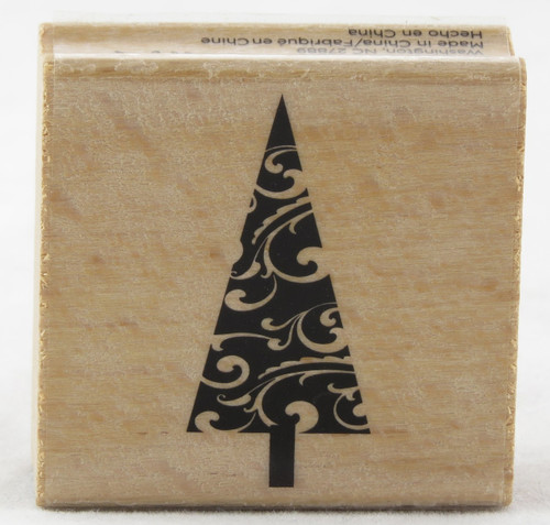Shop now for Christmas Tree Swirl Wood Mounted Rubber Stamp Hot Fudge Studios