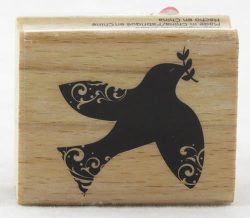 Dove Swirl Wood Mounted Rubber Stamp Hot Fudge Studios
