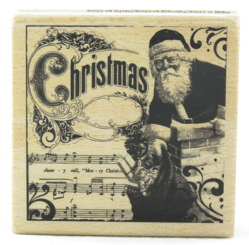 Old Fashioned Christmas Wood Mounted Rubber Stamp Hot Fudge Studios