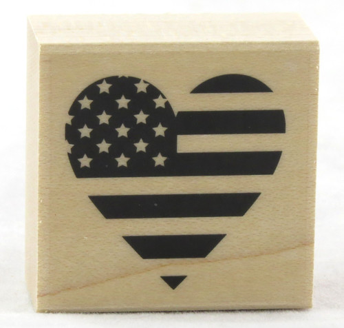 Shop now for Stars and Stripes Heart Wood Mounted Rubber Stamp Hero Arts