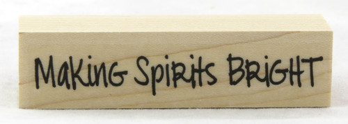Making Spirits Bright Wood Mounted Rubber Stamp Hero Arts