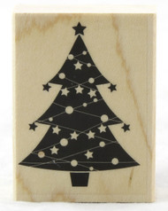 Christmas Tree With Stars Wood Mounted Rubber Stamp Hero Arts