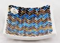 Mosaic Glass Brown Blue Square Ceramic Incense Burner