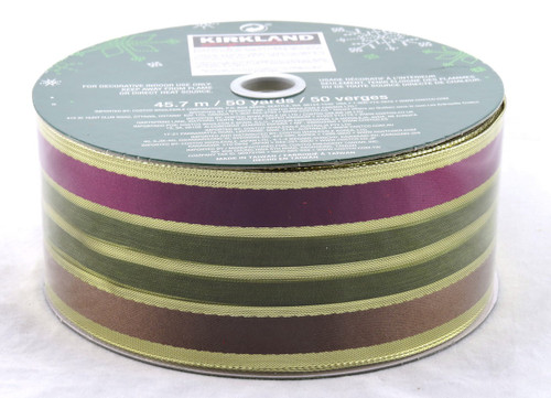 Green Brown Purple Striped Wide Wired Ribbon 50 Yards