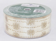 Gold Sparkle Snowflake Stripes on Solid Champagne Wide Wired Ribbon 50 Yards
