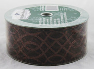 Dark Brown Sparkle Swirl on Sheer Brown Wide Wired Ribbon 50 Yards
