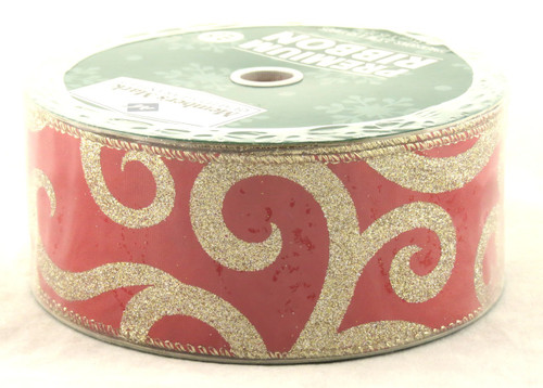 Gold Sparkle Swirls on Solid Red Wide Wired Ribbon 50 Yards